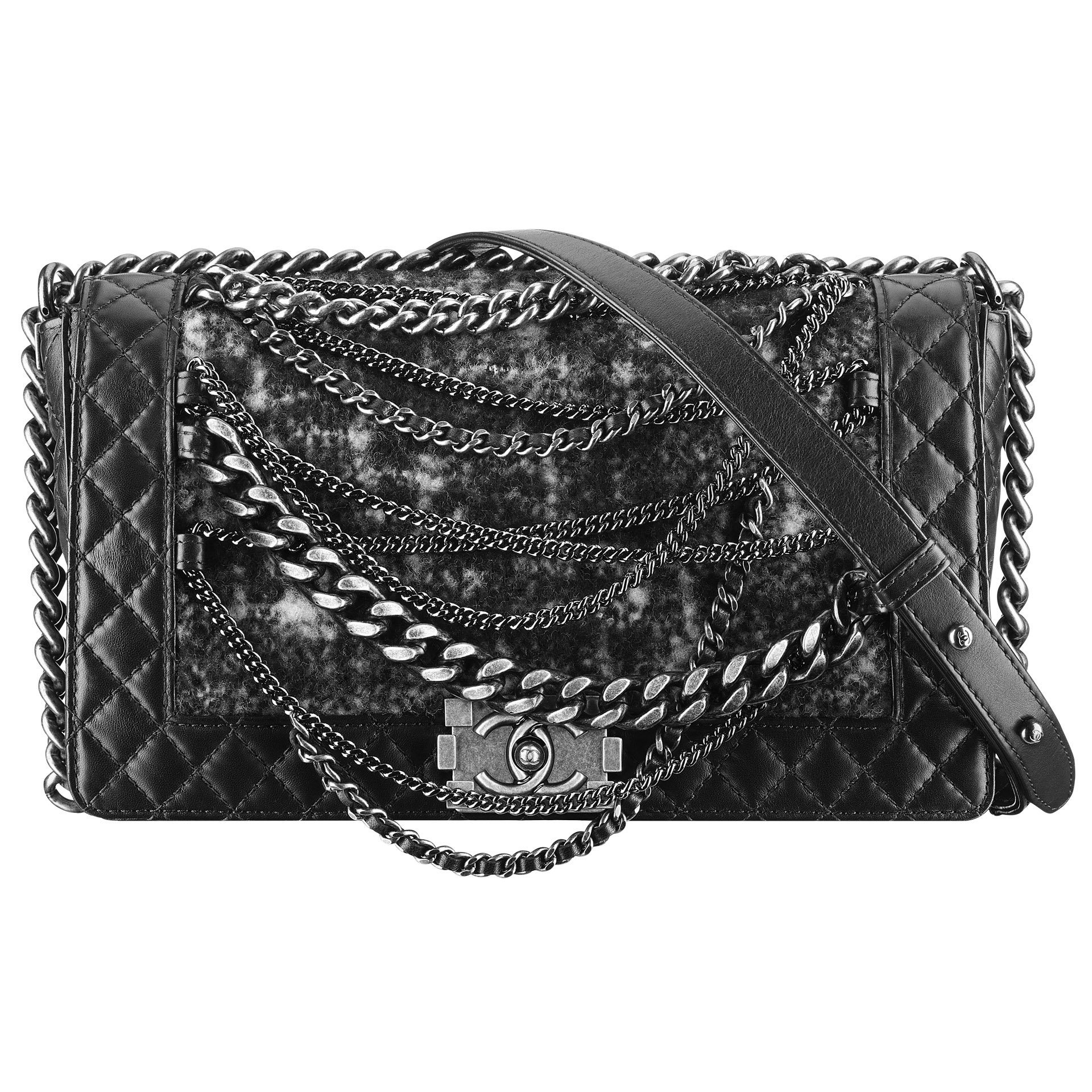 2 - Black-tweed-and-leather-BOY-CHANEL-bag-with-chains