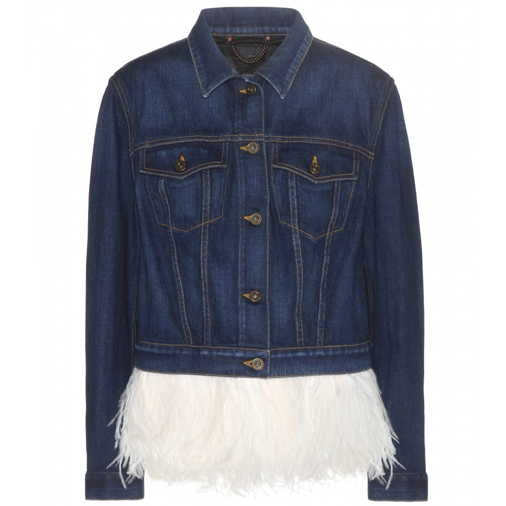Denim feather jacket