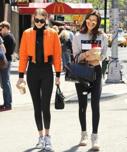 Gigi Hadid and Bella Hadid are all smiles as they take a walk in SoHo on Mother's Day in NYC.  Pictured: Gigi Hadid and Bella Hadid Ref: SPL1274961  080516   Picture by: Splash News  Splash News and Pictures Los Angeles:310-821-2666 New York:212-619-2666 London:870-934-2666 photodesk@splashnews.com